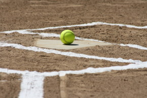 softball on home plate