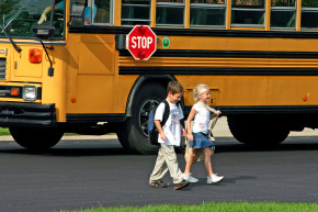 children off bus after school