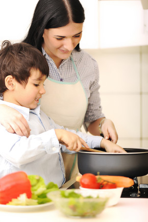 cooking with kids in kitchen